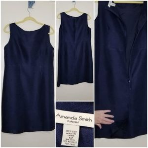 Amanda Smith Sleeveless Navy Silk Sheath Size 12